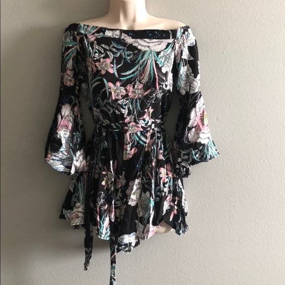 LF Dresses & Skirts - LF Black Floral Tropical Romper With Sleeves
